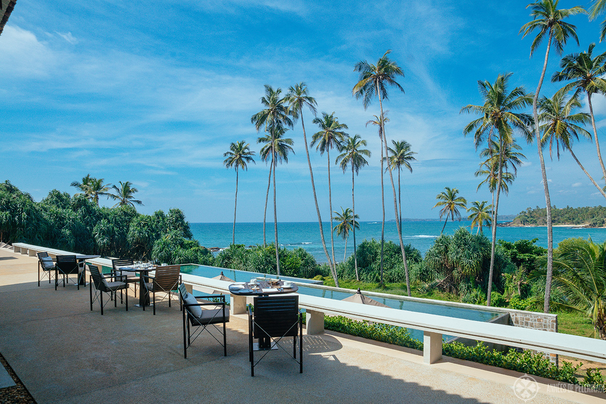 The main restaurant of Amanwella - the best luxury hotel in Sri lanka? The view at least is spectacular!