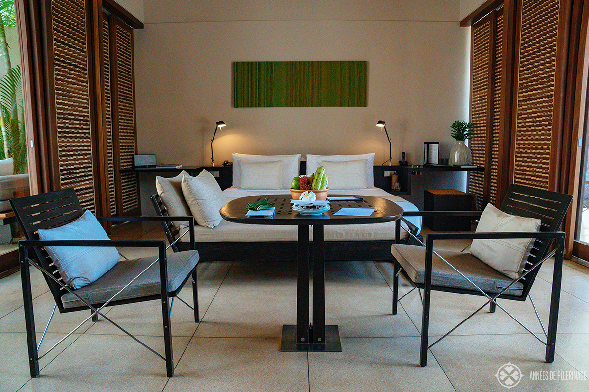 Inside the rooms / villas at the Amanwella luxury resort in Tangalle, Sri Lanka