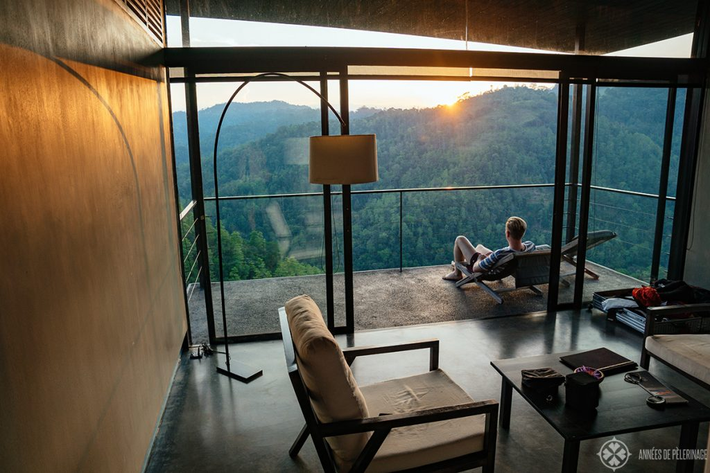 Me enjoying the view from my room at the Sanatani Resort near Kandy in the Knuckles Forest Reserve Sri Lanka