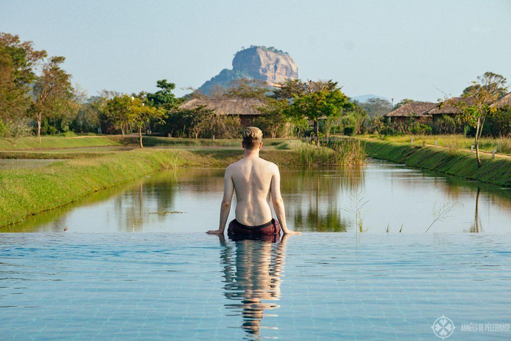 Me enjoying the view of Sigirya from the Sigiriya Water Gardens Luxury hotel in Dambulla, Sri Lanka