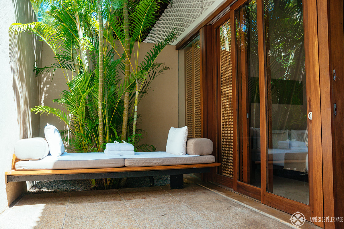 The little sitting area opposite your private pool in the private villas at Amanwella luxury hotel Sri Lanka
