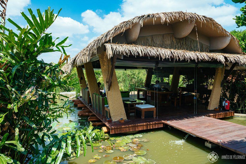 The lobby of the Chena Huts safari lodge in Yala National park Sri lanka