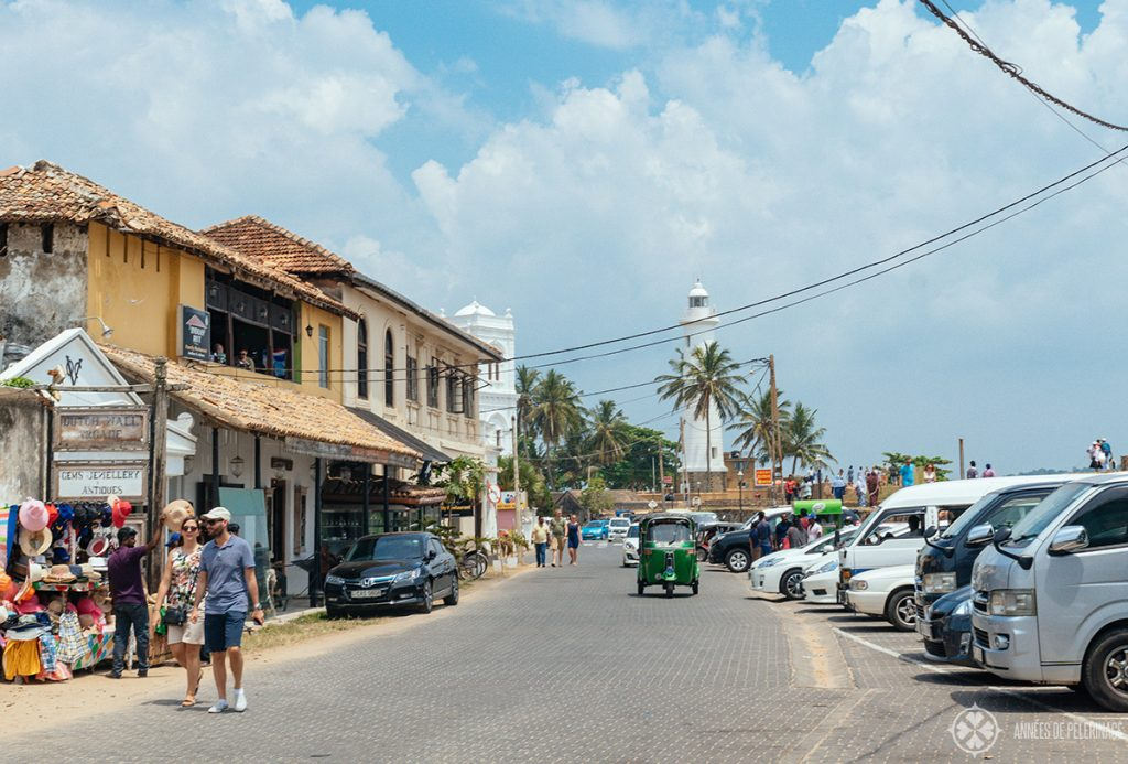 busy streets with lots of minivans near the Galle light house in Sri Lanka
