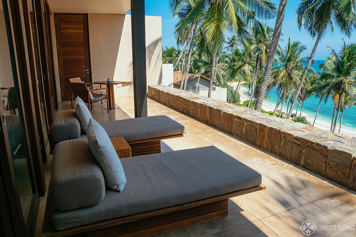 The private terrace of each villa - my Amanwella review is based on a stay at an Ocean view villa