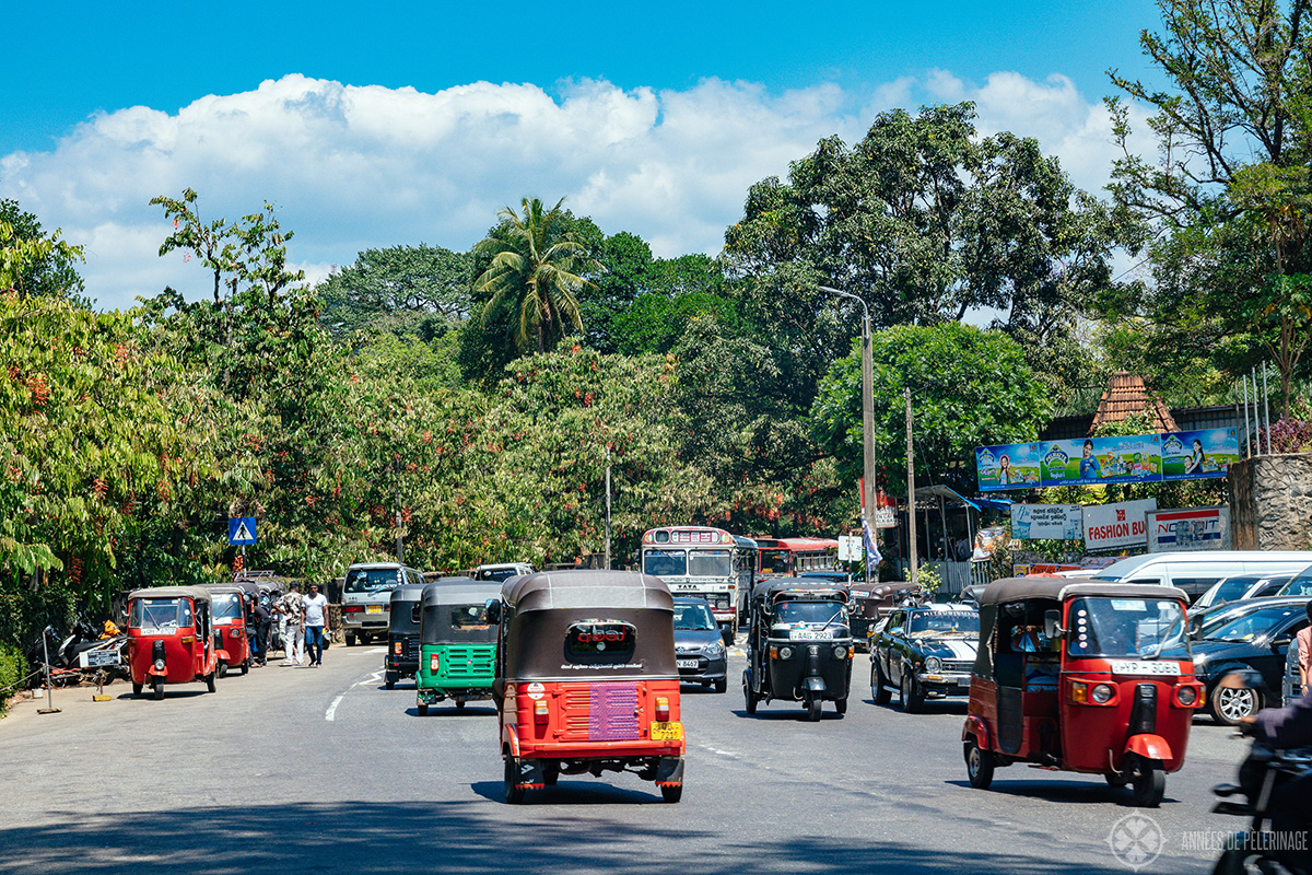 The Traffic in Kandy, Sri Lanka - so many tuk-tuks and few of them have a licence. It can get very dangerous very fast