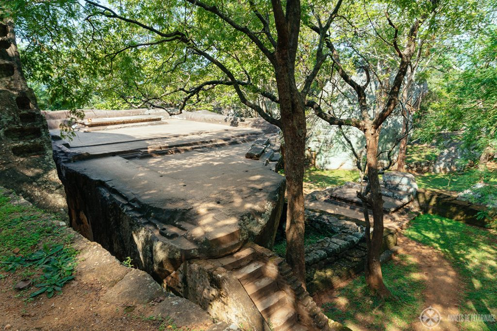 The remains of the audience hall below the Sigiriya rock fortress, Sri lanka