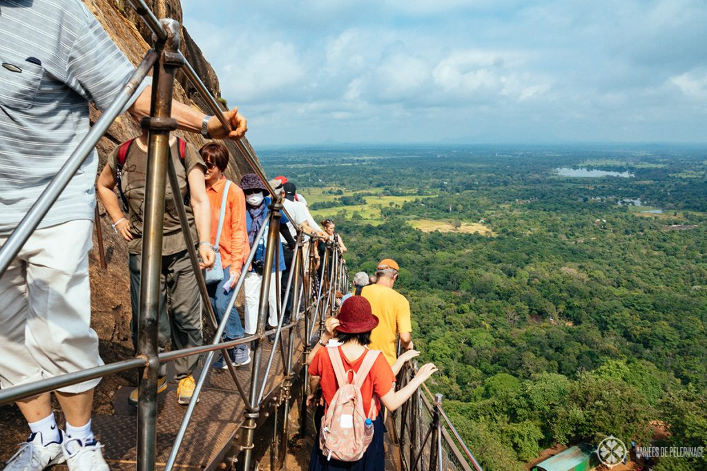 Don't look down - the last set of stairs before reaching the top of Sigiriya Lion Rock, Sri Lanka