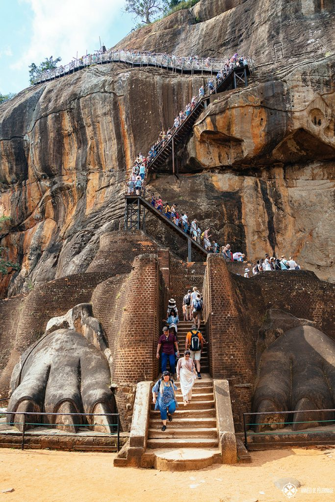 Tourists scrambling up the last staircase up to Sigiriya