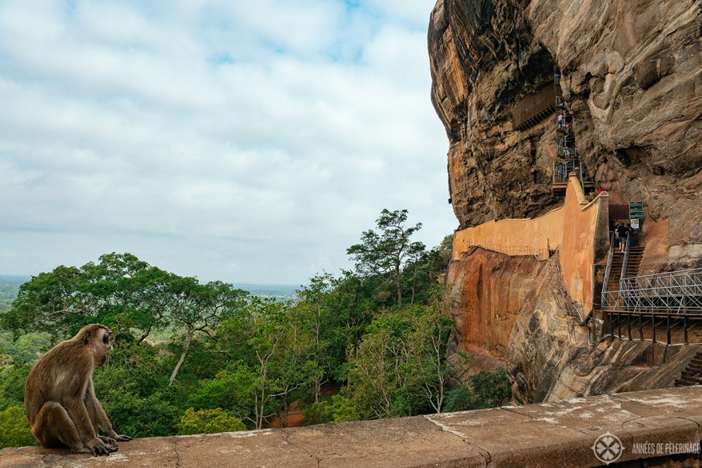 View of the Mirror Wall and the staircase leading to the Sigiriya Damsels