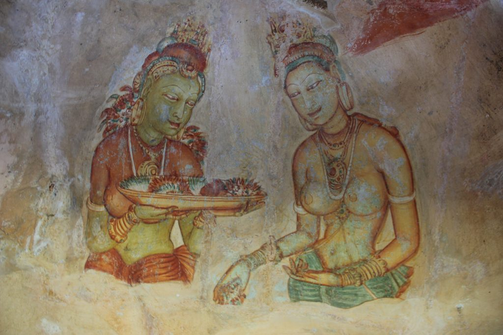 Two of the Sigiriya Damsels - the most iconic image in Sri Lanka