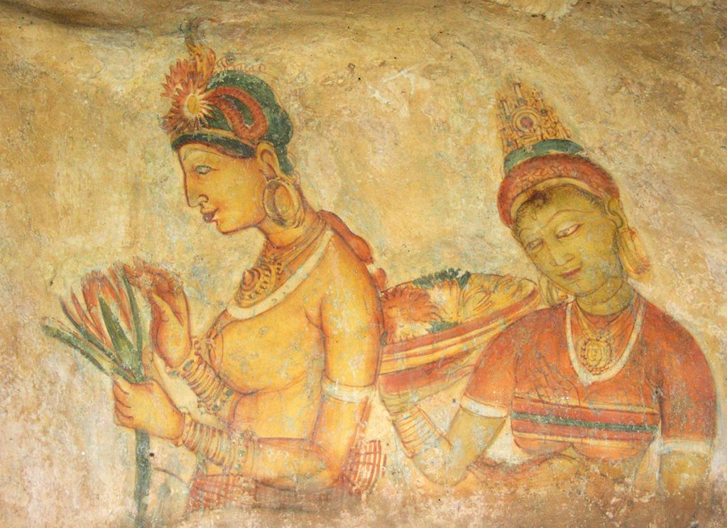 Another pair of Sigiriya Damsels carrying fruits and flower offersings