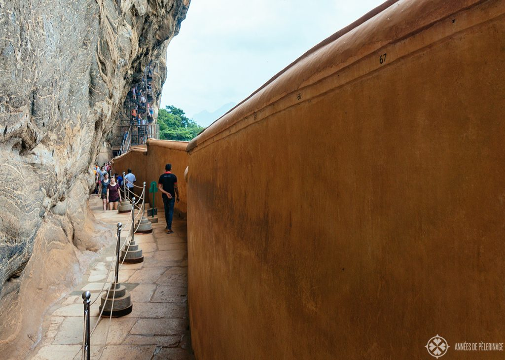 View along the Mirror Wall at Sigirya Lion Rock palace in Sri lanka