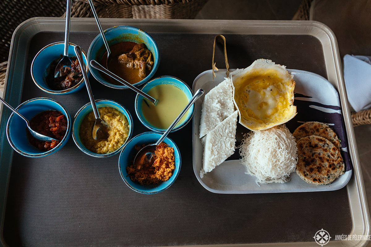 Traditional Sri Lankan curries with some traditional sides