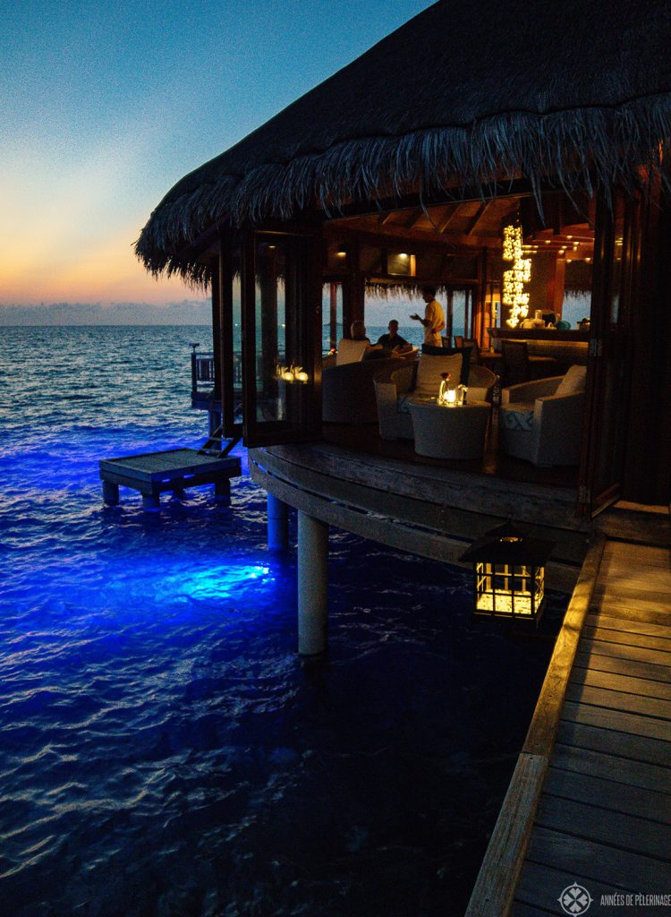 The bar at the Jing restaurant at the Constance Halaveli luxury resort, Maldives
