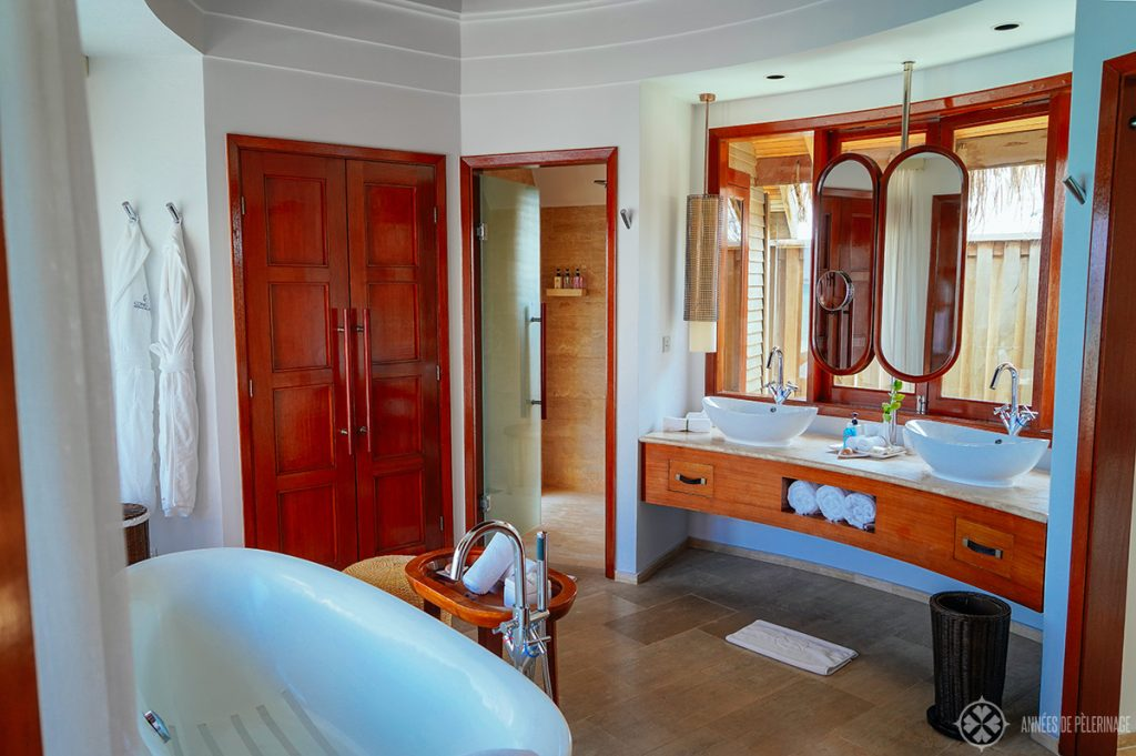My Constance Halaveli review: The bathroom of an overwater bungalow at the luxury resort in the Maldives