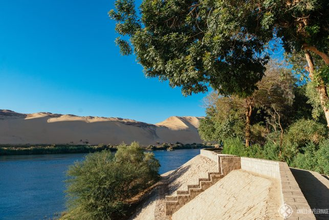 The walkways around the Botanical Garden in Aswan - sitting on its own little island