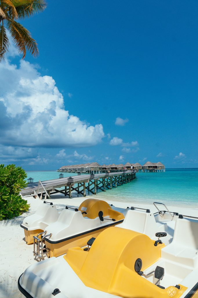 The watersports club (with the jetty in the background) of the Constance Halaveli luxury resort on the Maldives
