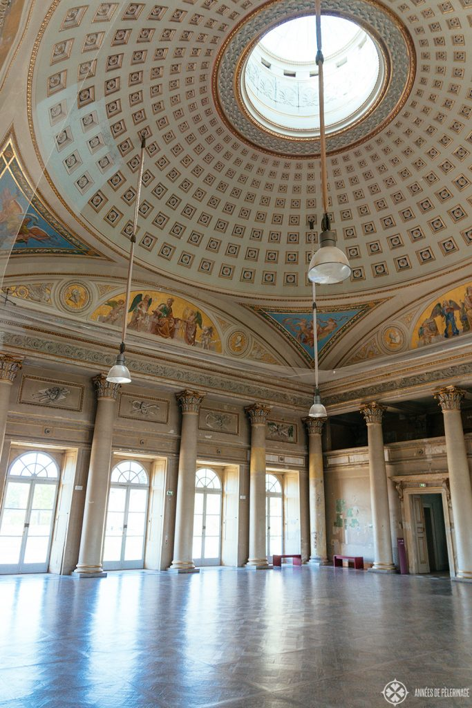 The grand ballroom inside the neoclassical Neue Palais in Pillnitz castle, near Dresden