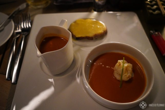 The Lobster Bisque (very recommended) at the Meeru grill of the Constance Halaveli