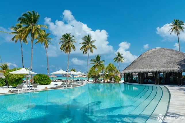 The main pool of the Constance Halaveli luxury resort, Maldives