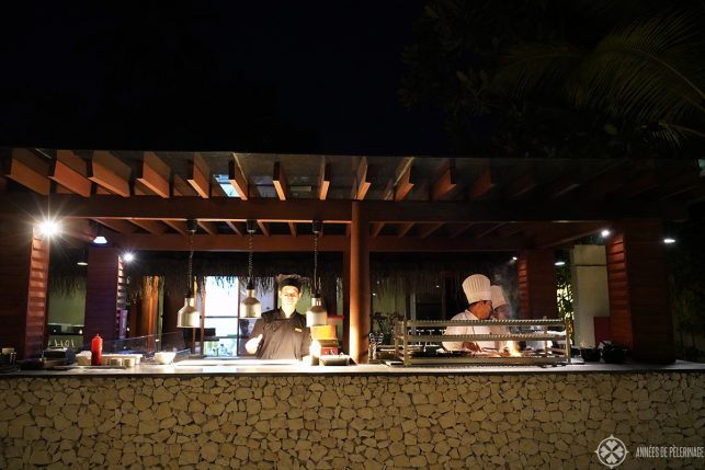 The Meeru Beach Grill - one of four restaurants at the Constance Halaveli
