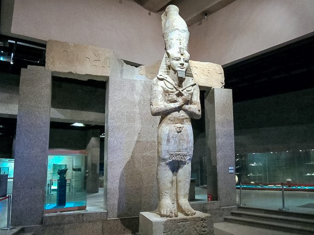 A giant statue inside the Nubian Museum