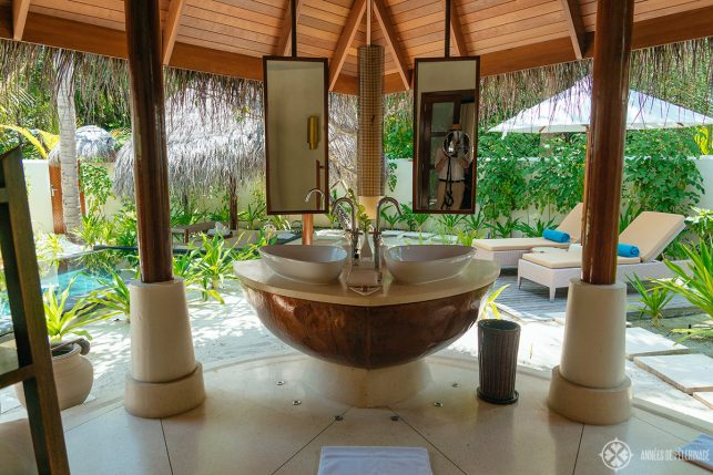 The open-air bathroom of the beach villas at the Constance Halaveli luxury hotel, Maldives