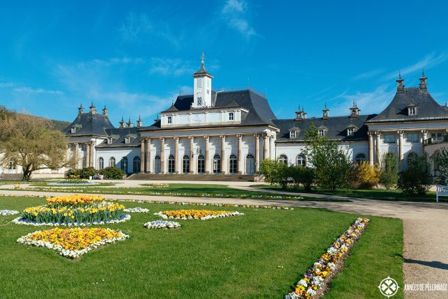 The neoclassical New Palais in Pillnitz castle, near Dresden, Germany in spring
