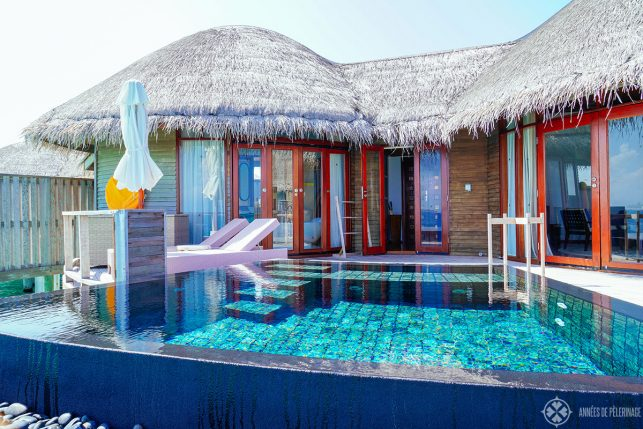 The private pool of the overwater bungalows at the Constance Halaveli luxury resort