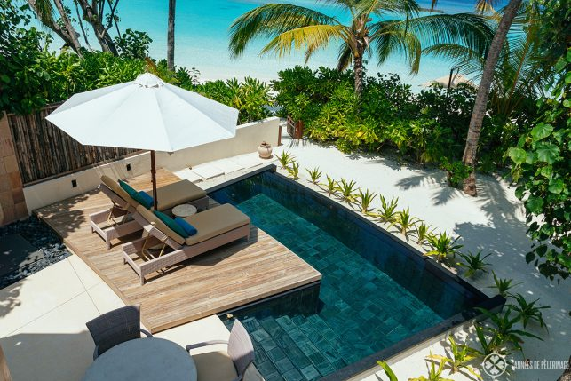 The private freshwater pool of the beach villas at the Constance Halaveli luxury resort