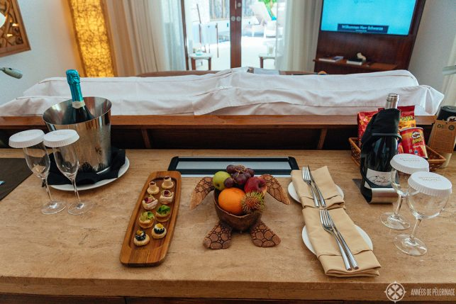 Welcome snacks in our room at the Constance Halaveli luxury resort in the Maldives