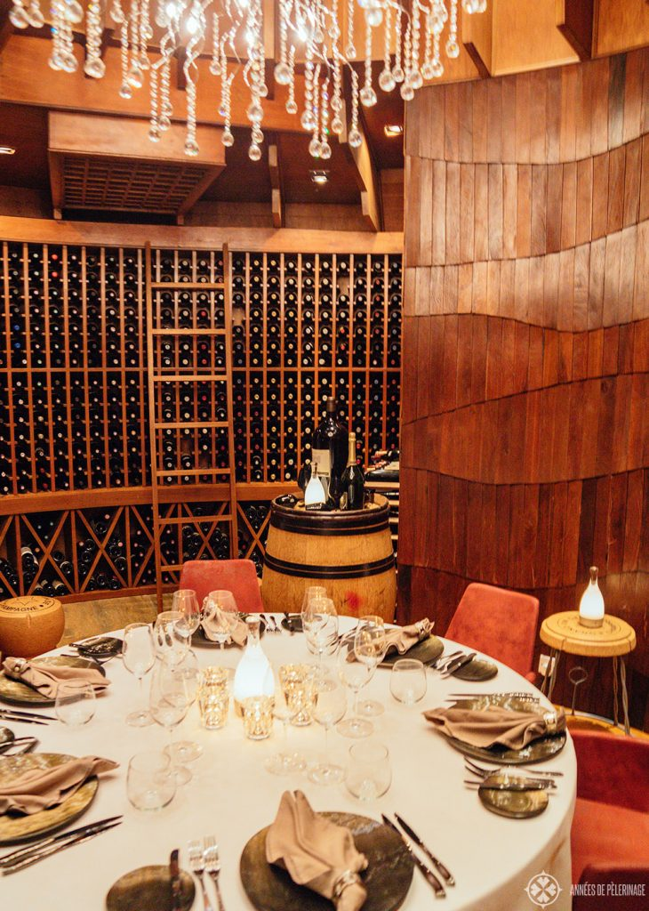 Wine cellar at the Jing Restaurant at the Constance Halaveli luxury resort in the Maldives