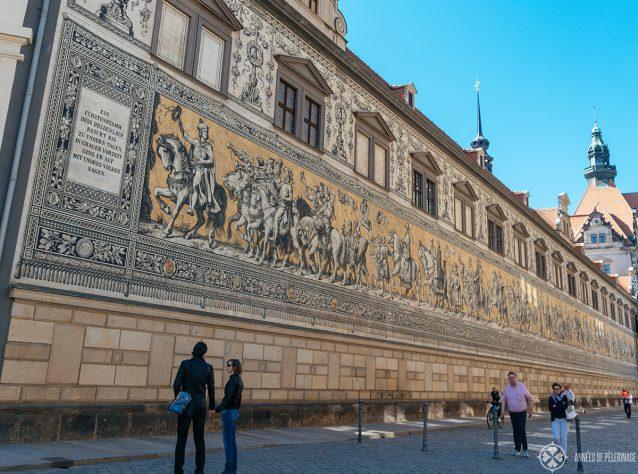 The porcelain tile Fürstenzug mural in Dresden depicting all of saxonys ruling families