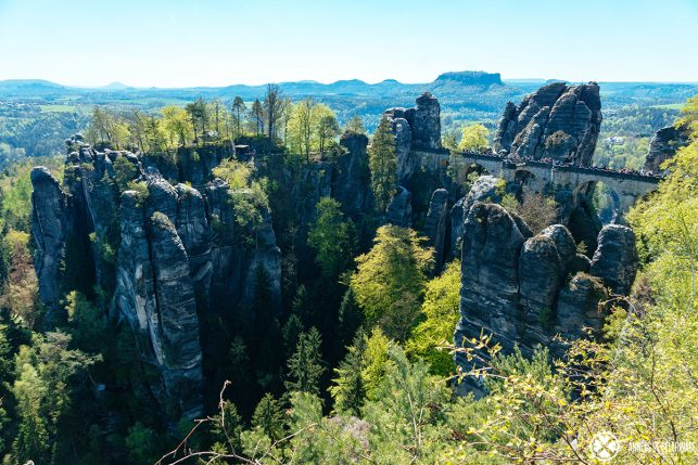 The Bastei Bridge and the remains of castle Neurathen in Saxon Switzerland, near Dresden