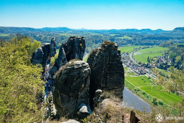 View of the Bastei bridge from above - how to get there from Dresden? Take the train, bus or even go there by boat