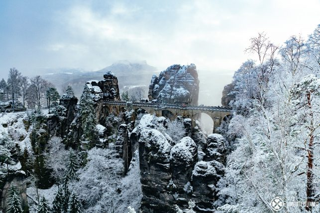 The famous Bastei Bridge in winter - just a short day trip from Dresden