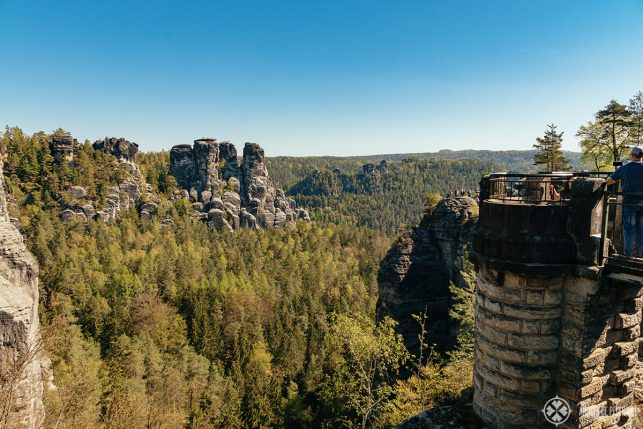One of the many little viewing platforms on the Bastei Bridge and a beautiful view of Saxon Switzerland