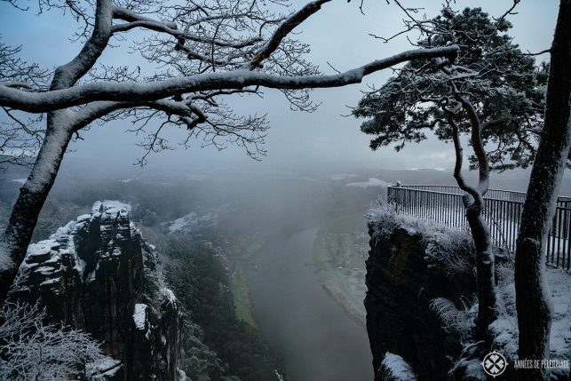 The Bastei viewing platform in winter