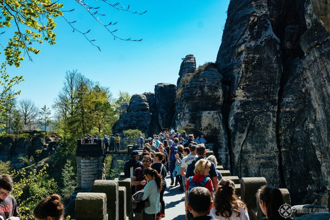 Tourists crowding the Bastei bridge on a busy weekend - try to visit during the week