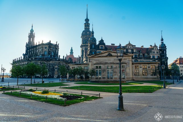 Dresden Cathedral and the City Castle as seen from the Semper oper