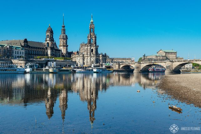 The old town of Dresden from the other side of the River Elbe - you can see the reflections of the Brühlsche Terasse in the water.
