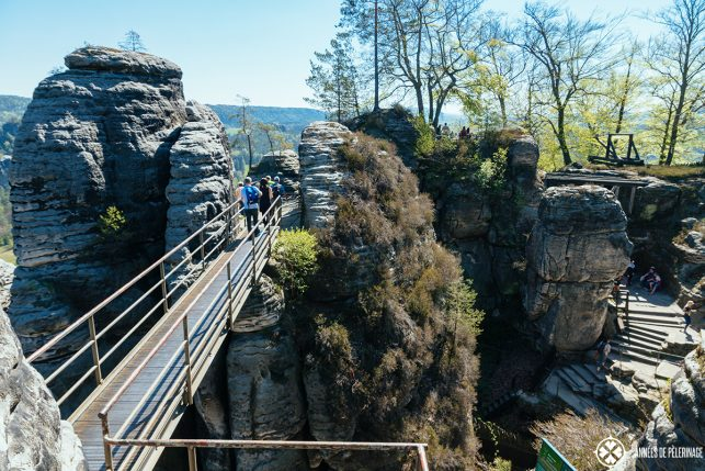 Reconstructed walkways of Castle Neurathen right behind Bastei Bridge in Saxon Switzerland
