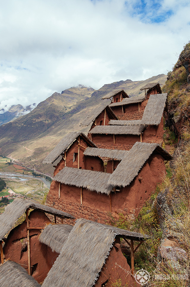Close-up of the granaries at Kinchiraqay site in Pisac ruins peru