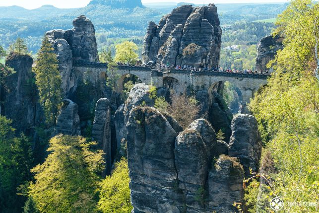 Classic view of the Bastei Bridge in Spring