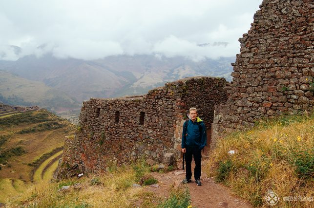 Me exploring the urban sector of the Pisac ruins near cusco