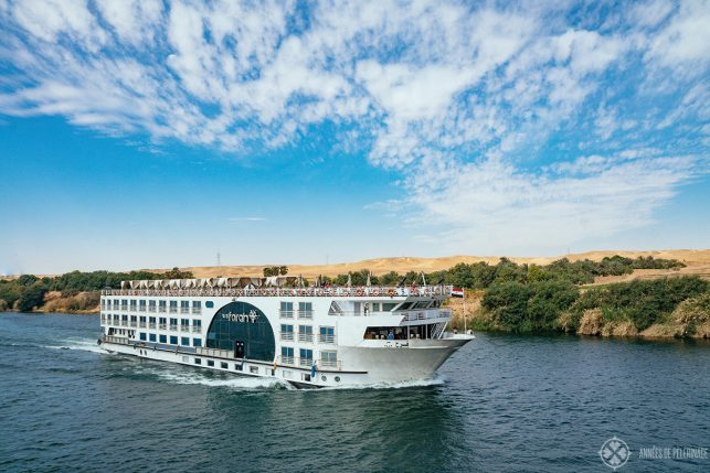 A typical Nile cruise ship near Aswan, Egypt