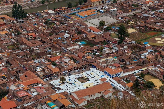 Pisac market from above - you'll be able to see this view when you hike down from the ruins