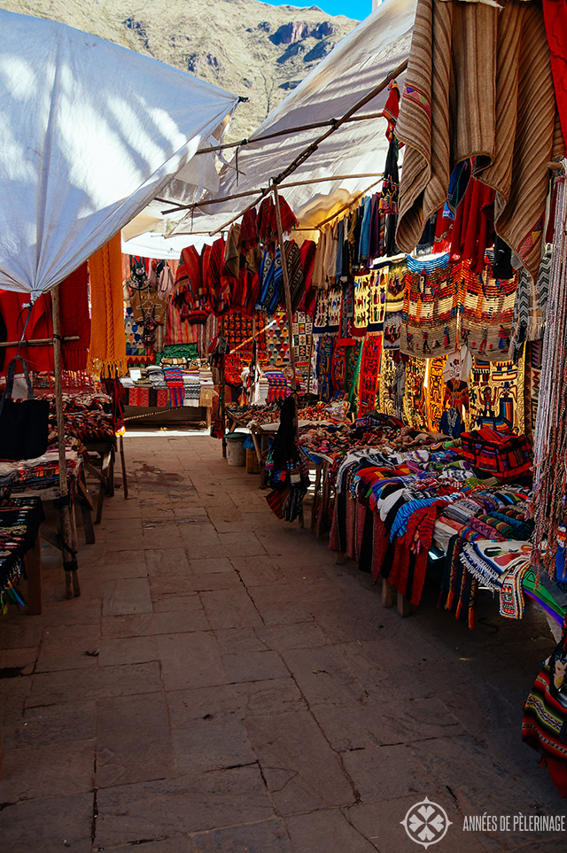 View along the long aisles of the Pisac market - just one of many reasons to visit the town northeast of Cusco