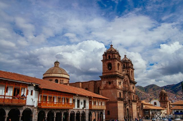 The Plaza de Armas in Cusco Peru with its many balconies and arcades