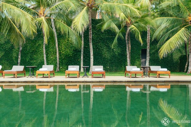 Sunloungers at the pool of Amangalla luxury hotel, in Galle Dutch Fort, Sri Lanka
